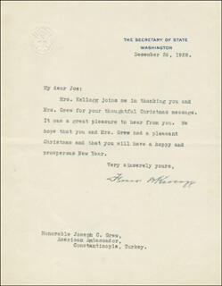 Autographs: FRANK B. KELLOGG - TYPED LETTER SIGNED 12/26/1928