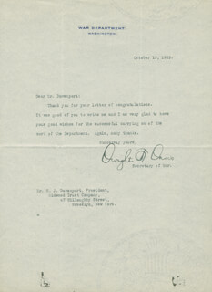 Autographs: DWIGHT F. DAVIS - TYPED LETTER SIGNED 10/15/1925