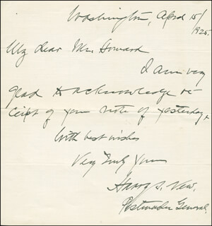HARRY S. NEW - AUTOGRAPH LETTER SIGNED 04/15/1925