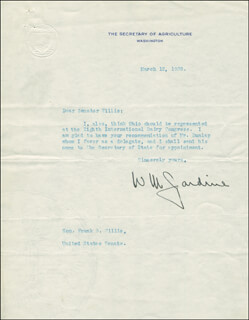 Autographs: WILLIAM M. JARDINE - TYPED LETTER SIGNED 03/12/1928
