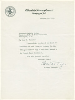 HOMER S. CUMMINGS - TYPED LETTER SIGNED 12/10/1935