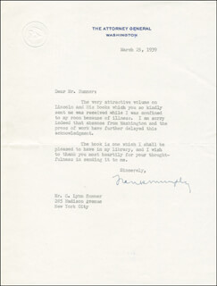 Autographs: ASSOCIATE JUSTICE FRANK MURPHY - TYPED LETTER SIGNED 03/25/1939