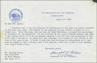 Autographs: HAROLD L. ICKES - TYPED LETTER SIGNED 04/19/1943