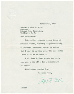 JAMES A. FARLEY - TYPED LETTER SIGNED 12/11/1935