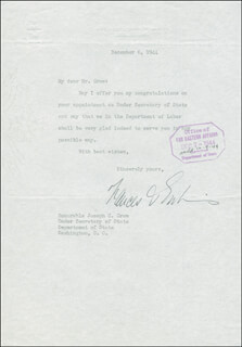 Autographs: FRANCES C. PERKINS - TYPED LETTER SIGNED 12/06/1944