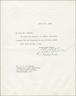 Autographs: GEORGE H. DERN - TYPED LETTER SIGNED 03/25/1933
