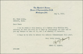 HENRY T. RAINEY - TYPED LETTER SIGNED 05/06/1933