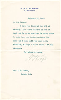 PRESIDENT WILLIAM H. TAFT - TYPED LETTER SIGNED 02/25/1907