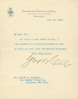 Autographs: GEORGE B. CORTELYOU - TYPED LETTER SIGNED 06/20/1903