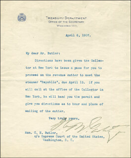 Autographs: GEORGE B. CORTELYOU - TYPED LETTER SIGNED 04/06/1907