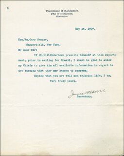 Autographs: JAMES WILSON - TYPED LETTER SIGNED 05/15/1907