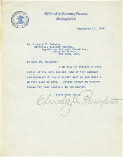 Autographs: CHARLES J. BONAPARTE - TYPED LETTER SIGNED 09/15/1908