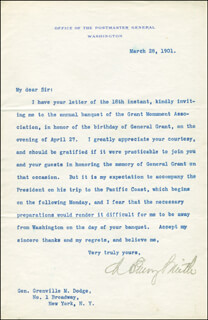 Autographs: CHARLES EMORY SMITH - TYPED LETTER SIGNED 03/28/1901