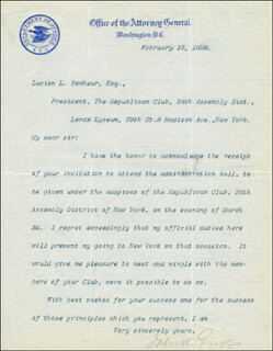 Autographs: JOHN W. GRIGGS - TYPED LETTER SIGNED 02/10/1898