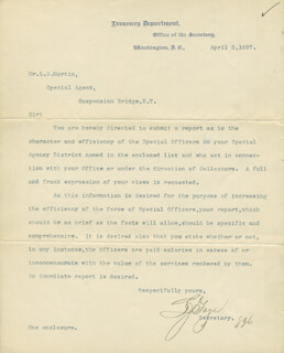 Autographs: LYMAN J. GAGE - TYPED LETTER SIGNED 04/02/1897