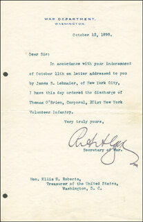 Autographs: RUSSELL A. ALGER - TYPED LETTER SIGNED 10/12/1898