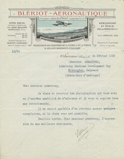 Autographs: LOUIS BLERIOT - TYPED LETTER SIGNED 02/26/1929