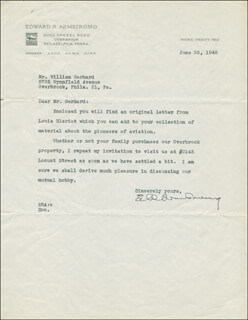 Autographs: EDWARD ROBERT ARMSTRONG - TYPED LETTER SIGNED 07/25/1948