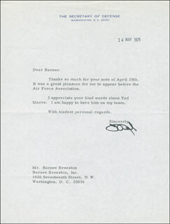 MELVIN R. LAIRD - TYPED LETTER SIGNED 03/14/1971