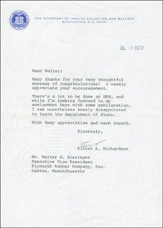 Autographs: ELLIOT L. RICHARDSON - TYPED LETTER SIGNED 07/07/1970