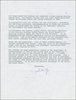 Autographs: JOHN A. VOLPE - TYPED LETTER SIGNED 01/08/1970