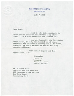 Autographs: JOHN N. MITCHELL - TYPED LETTER SIGNED 07/07/1970