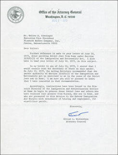 Autographs: ELLIOT L. RICHARDSON - TYPED LETTER SIGNED 08/01/1973