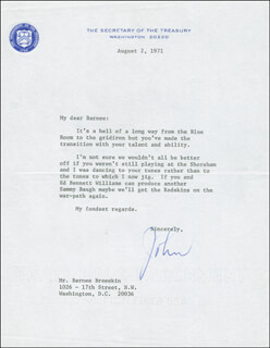 JOHN B. CONNALLY JR. - TYPED LETTER SIGNED 08/02/1971