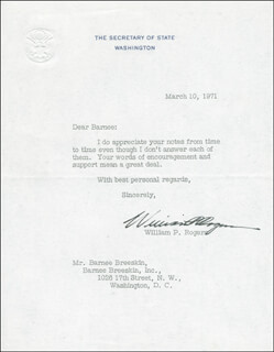 WILLIAM P. ROGERS - TYPED LETTER SIGNED 03/10/1971