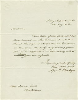 Autographs: GEORGE E. BADGER - AUTOGRAPH LETTER SIGNED 07/01/1841