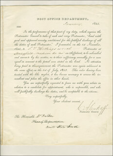 Autographs: CHARLES ANDERSON WICKLIFFE - PRINTED LETTER SIGNED IN INK 01/1844