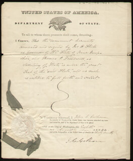 Autographs: VICE PRESIDENT JOHN C. CALHOUN - DOCUMENT SIGNED 08/08/1844 CO-SIGNED BY: JOHN H. STEELE, ALLEN T. TREADWAY