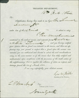 Autographs: GEORGE M. BIBB - DOCUMENT SIGNED 10/16/1844 CO-SIGNED BY: CORNELIUS P. VAN NESS