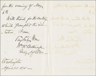 Autographs: MAJOR GENERAL WILLIAM W. BELKNAP - AUTOGRAPH LETTER SIGNED 04/28/1875