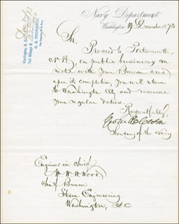GEORGE M. ROBESON - MANUSCRIPT LETTER SIGNED 12/19/1873