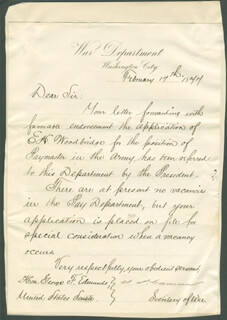 Autographs: JAMES D. CAMERON - MANUSCRIPT LETTER SIGNED 02/17/1877