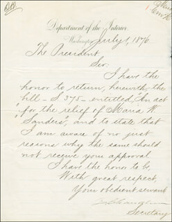 ZACHARIAH CHANDLER - MANUSCRIPT LETTER SIGNED 07/01/1876