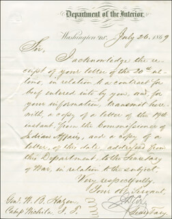 MAJOR GENERAL JACOB D. COX - MANUSCRIPT LETTER SIGNED 07/26/1869
