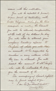 HAMILTON FISH - MANUSCRIPT LETTER SIGNED 05/15/1869