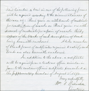 Autographs: WILLIAM A. RICHARDSON - MANUSCRIPT DOCUMENT SIGNED 07/10/1873