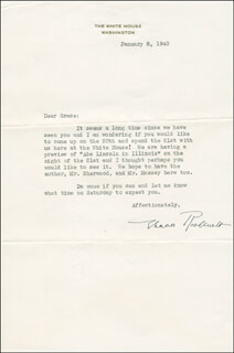 FIRST LADY ELEANOR ROOSEVELT - TYPED LETTER SIGNED 01/08/1940