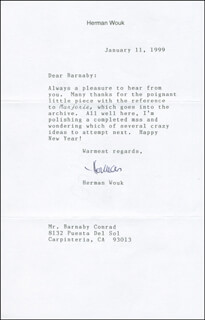 HERMAN WOUK - TYPED LETTER SIGNED 01/11/1999