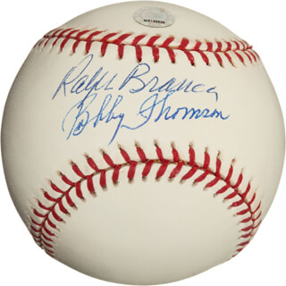 BOBBY THOMSON - AUTOGRAPHED SIGNED BASEBALL CO-SIGNED BY: RALPH HAWK BRANCA