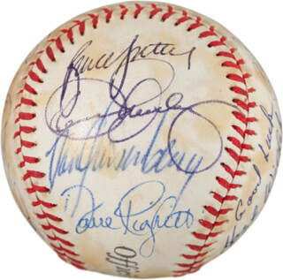 RICH GOOSE GOSSAGE - AUTOGRAPHED SIGNED BASEBALL CO-SIGNED BY: DENNIS THE ECK ECKERSLEY, LEE SMITH, DAVID RAGS RIGHETTI, JOHN FRANCO, BRUCE SUTTER, JEFF THE TERMINATOR REARDON, ROLLIE FINGERS, HOYT (JAMES) WILHELM, SPARKY LYLE, DOUG JONES, TOM HENKE, JEFF MONTGOMERY, DAN QUISENBERRY