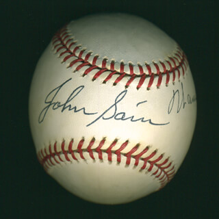 WARREN SPAHN - AUTOGRAPHED SIGNED BASEBALL CO-SIGNED BY: JOHNNY SAIN