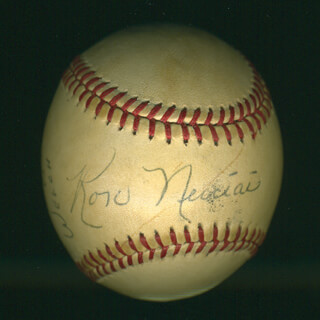 Autographs: RON NECCIAI - ANNOTATED BASEBALL SIGNED CO-SIGNED BY: HARRY DUNLOP