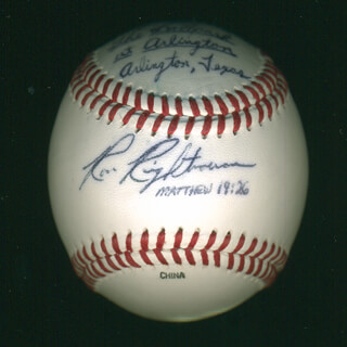 RON RIGHTNOWAR - BASEBALL SIGNED WITH AQS 05/20/1995  - HFSID 291832