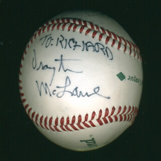 Autographs: DRAYTON MCLANE JR. - INSCRIBED BASEBALL SIGNED
