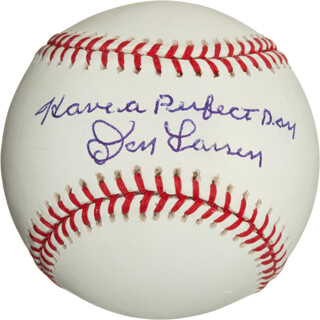 DON LARSEN - ANNOTATED BASEBALL SIGNED