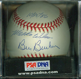 MOOKIE WILSON - AUTOGRAPHED SIGNED BASEBALL CO-SIGNED BY: BILL BILLY BUCKS BUCKNER
